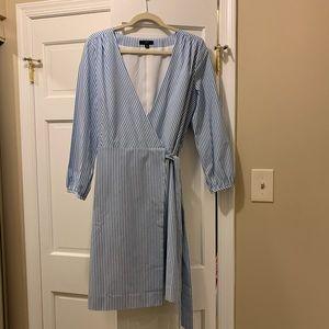 NWOT J CREW blue white stripe wrap dress size 10